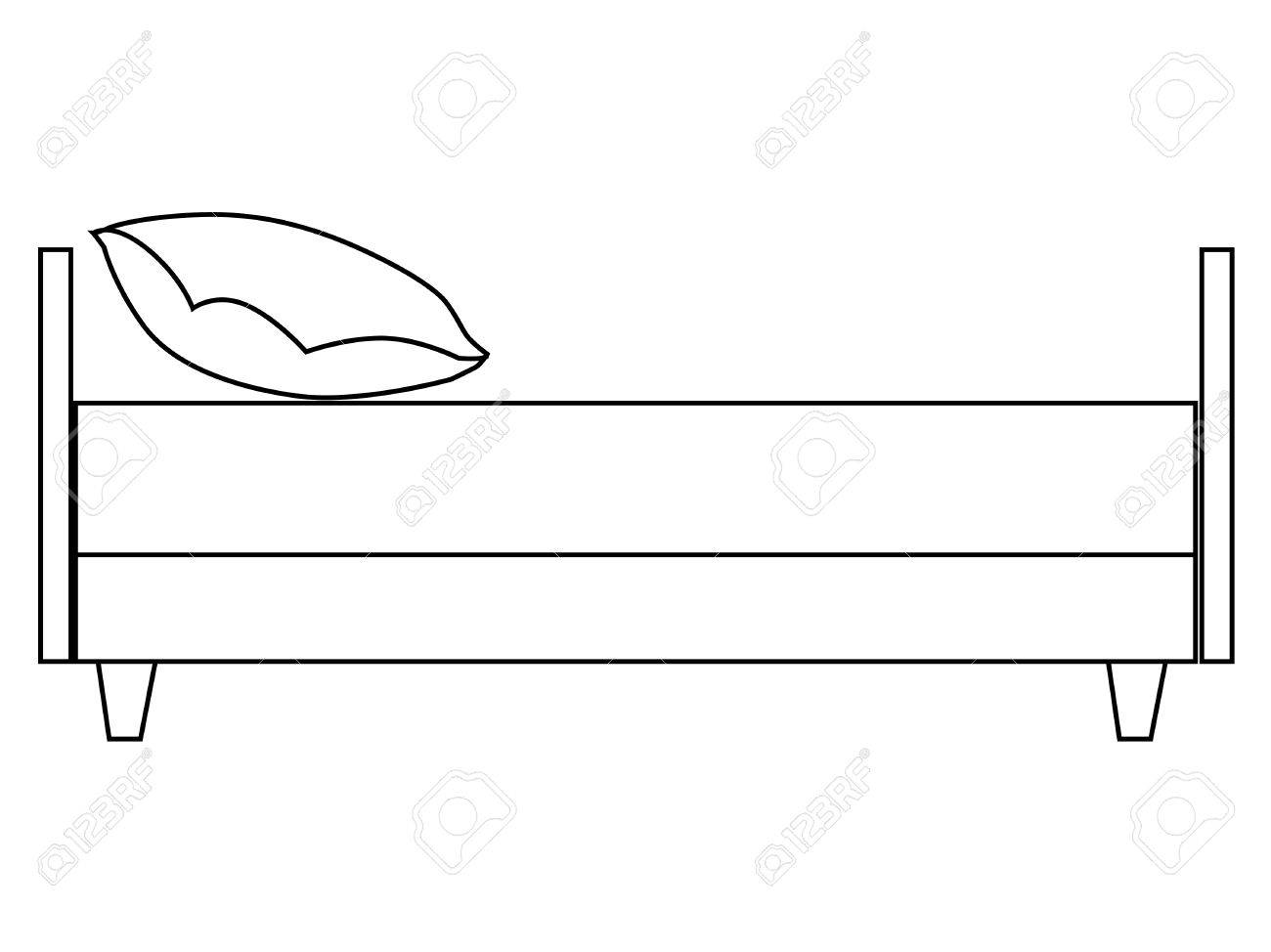 outline illustration of bed side view royalty free cliparts rh 123rf com Sofa Side View Chevy Silverado Side View