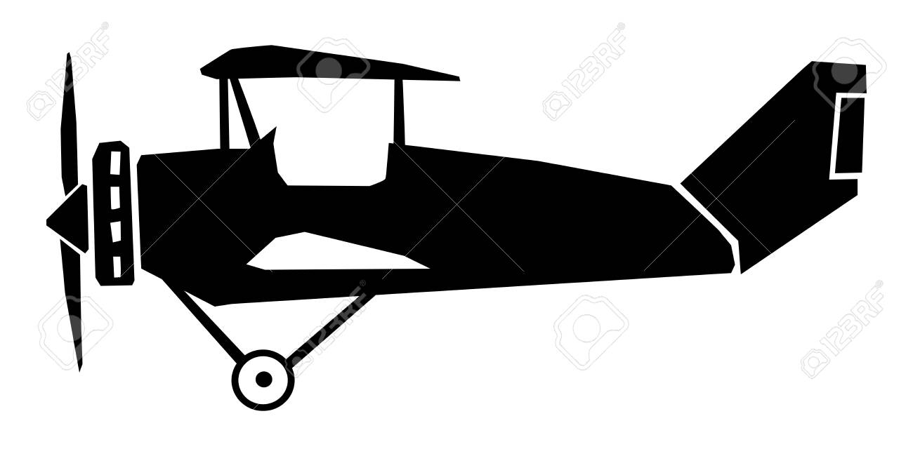 Silhouette Of Vintage Airplane Side View Royalty Free Cliparts