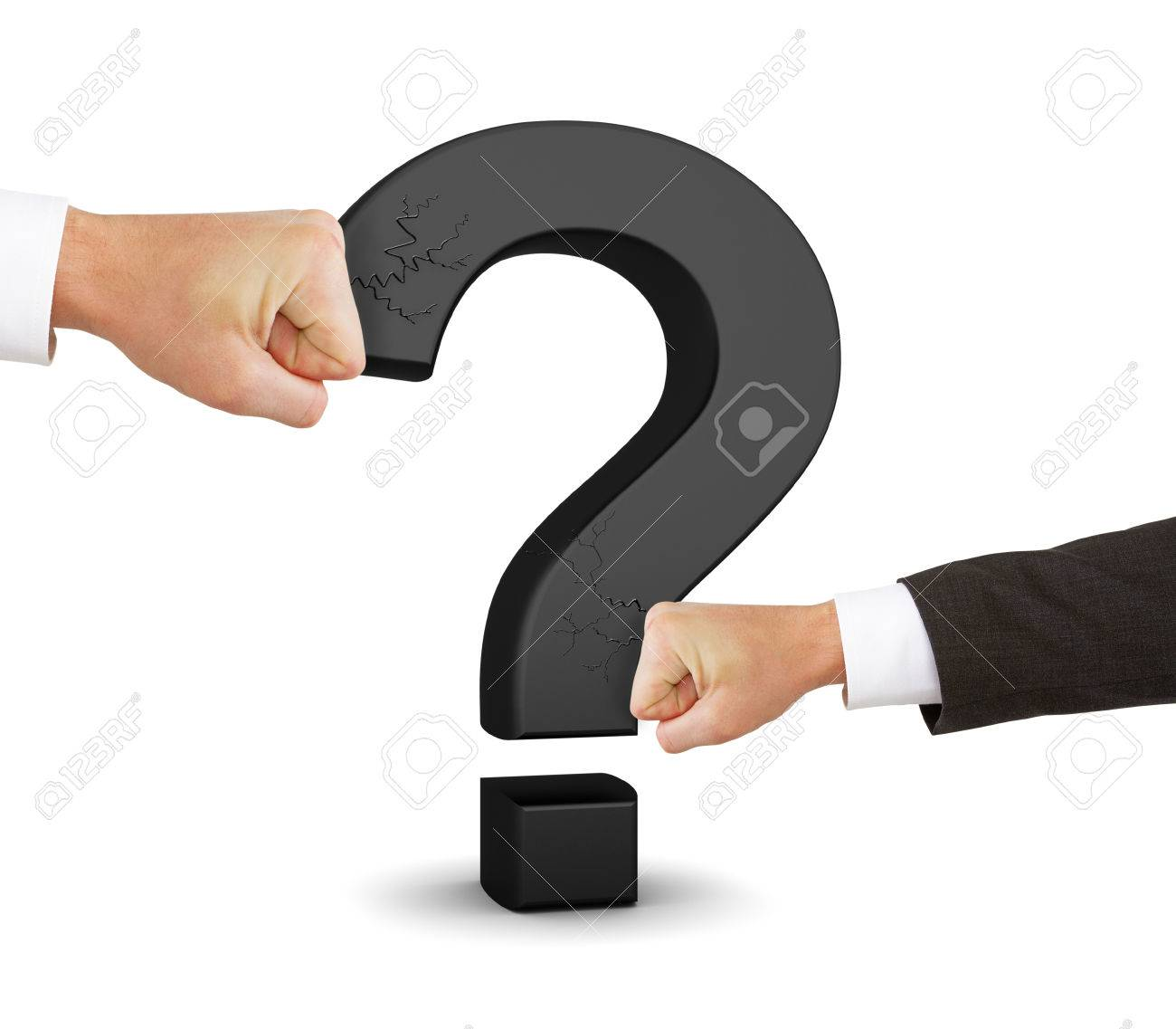Two Hands Broken Black Question Mark Symbol On A White Background