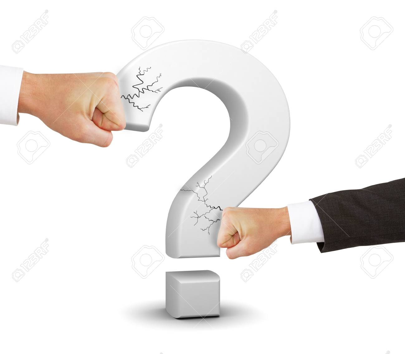 Two Hands Broken White Question Mark Symbol On A White Background