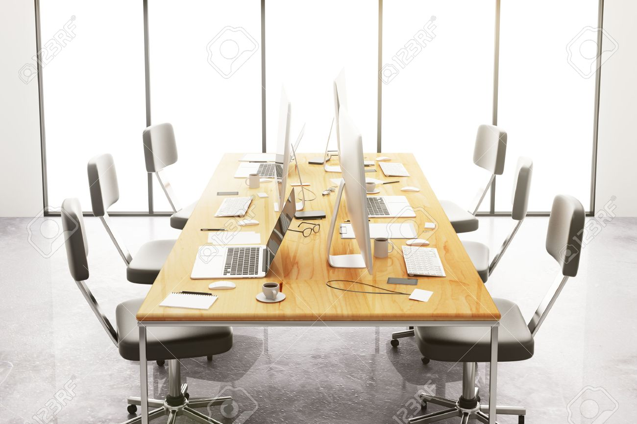 Meeting Conference Table With Office Accessories And Computers Stock - Conference table accessories