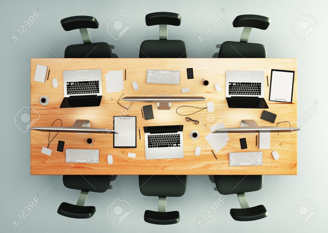 Top View Of Conference Table With Office Accessories And Computers - Conference table accessories