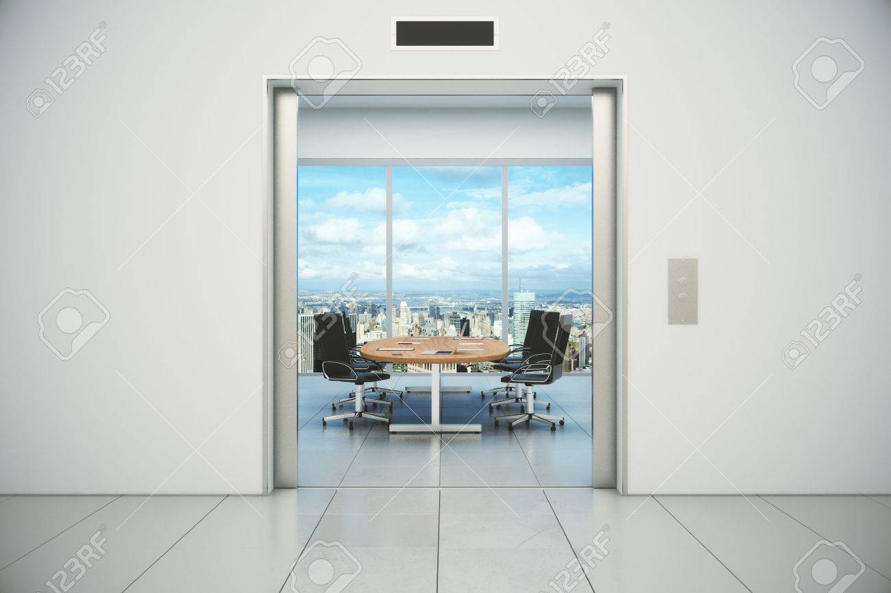 Conference room with city view is appeared from the elevator doors & Elevator Door Stock Photos. Royalty Free Elevator Door Images