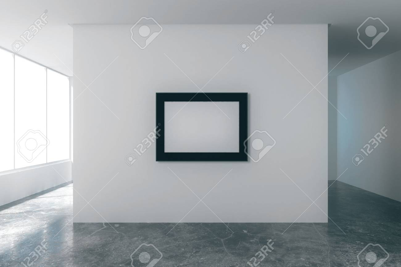 Blank Bilderrahmen In Leere Loft Zimmer Mit Weißen Wänden, Blick Auf Die  Stadt Und