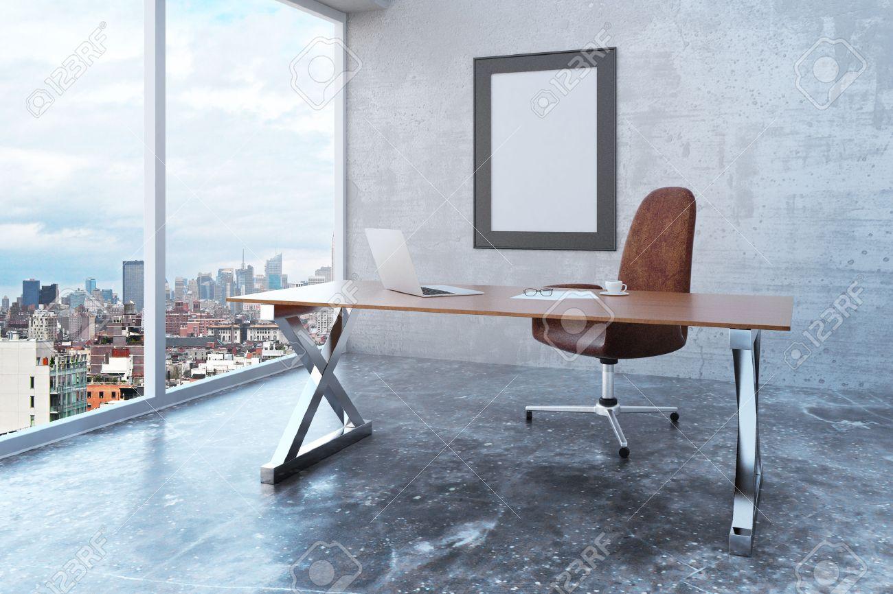 Blank Bilderrahmen Im Loft-Büro Mit Blick Auf Die Stadt, Moderne ...