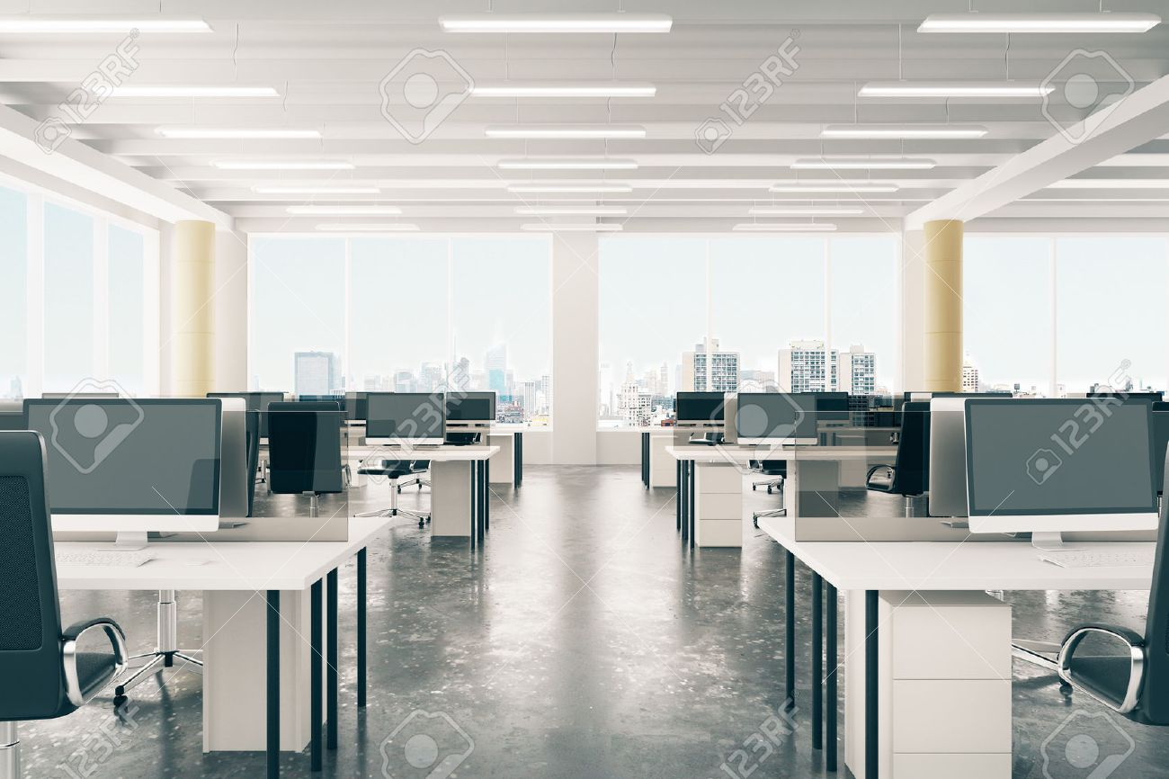 office lofts. Open Space Office In Loft Style Hangar With Windows Floor And City View Stock Photo Lofts