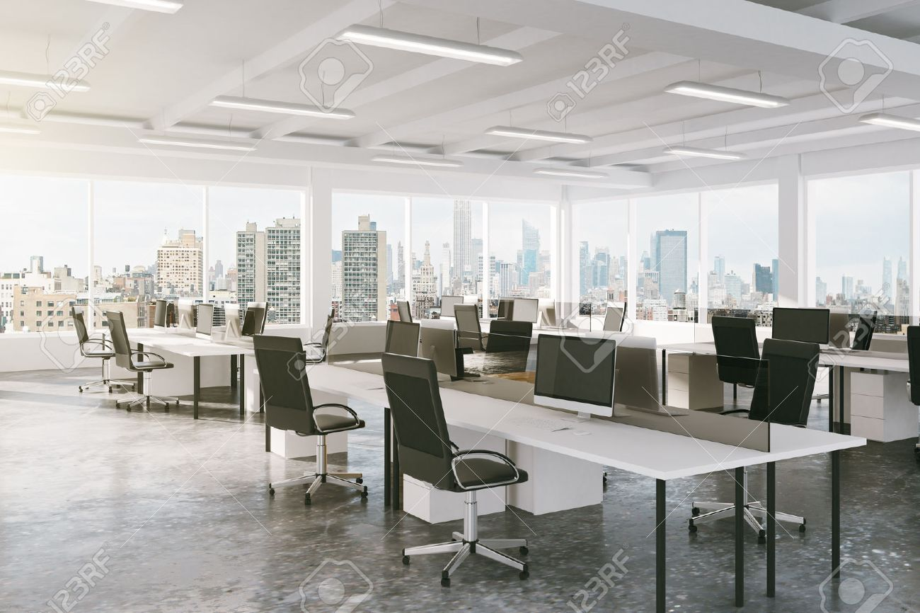 Modern open space office with city view stock photo picture and