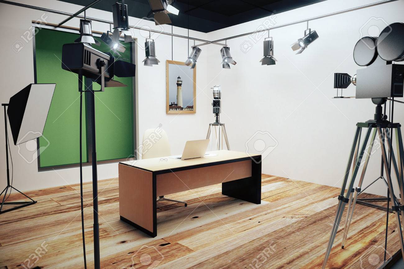 Modern photo studio with furniture and old style movie camera stock photo 49255161