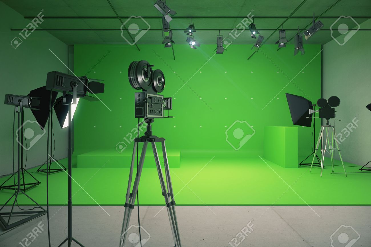 Modern Empty Green Photo Studio With Old Style Movie Camera Stock
