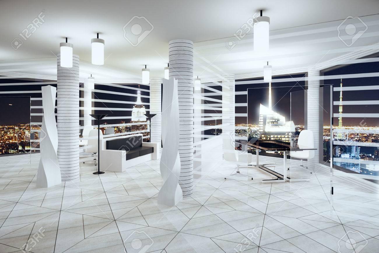 Moderne Futurismus Stil Buro Mit Fenstern Im Boden Und Nacht Blick