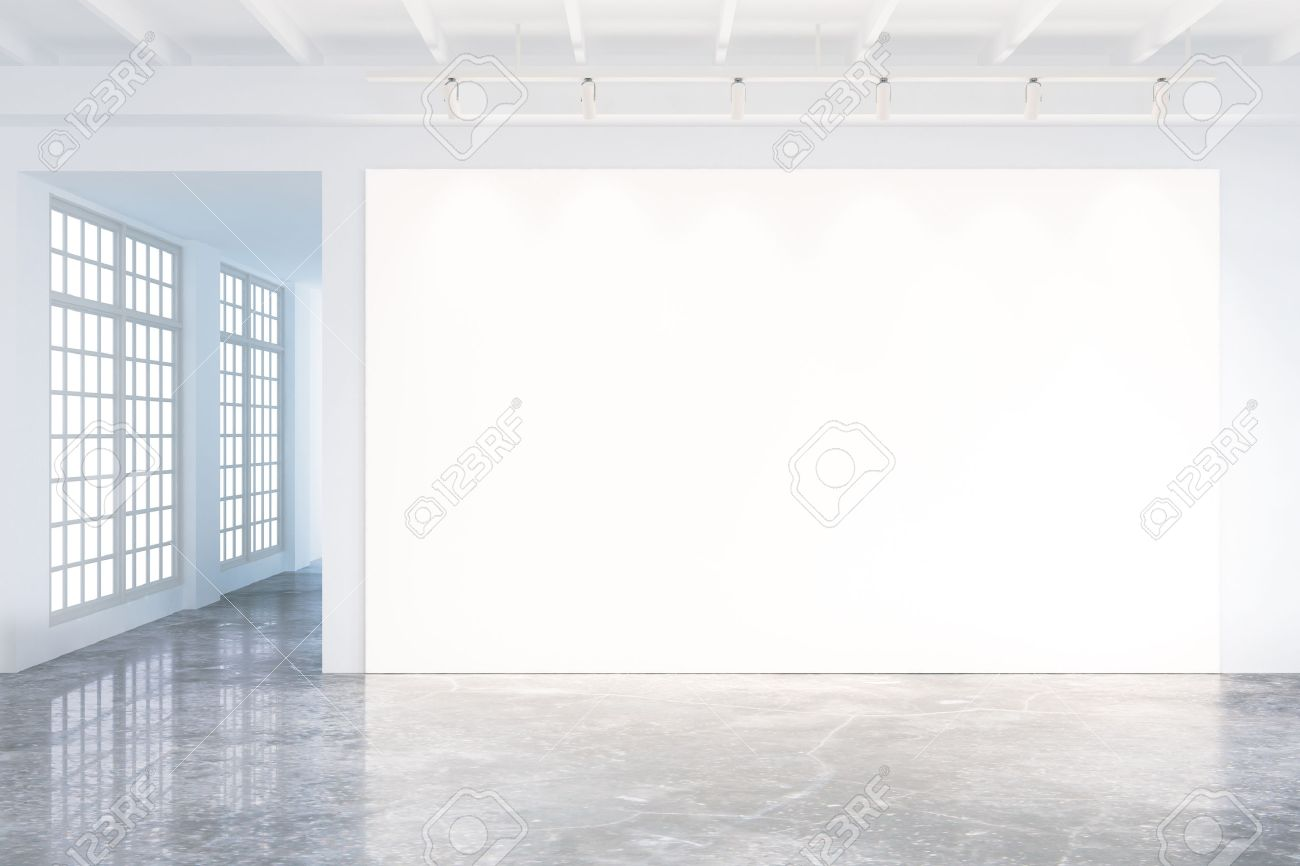 Mock up of blank poster in modern loft interior with big windows and concrete floor - 50384031