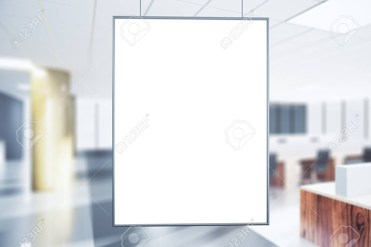 Blank White Poster In The Office At Sunrise Mock Up
