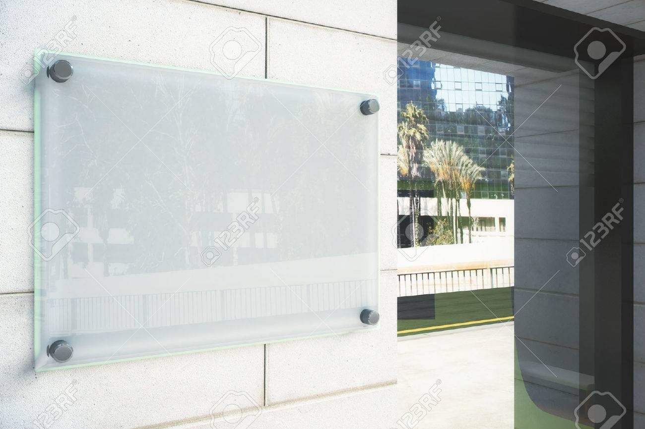 Blank glassy signboard on the wall outdoor, mock up - 50384523