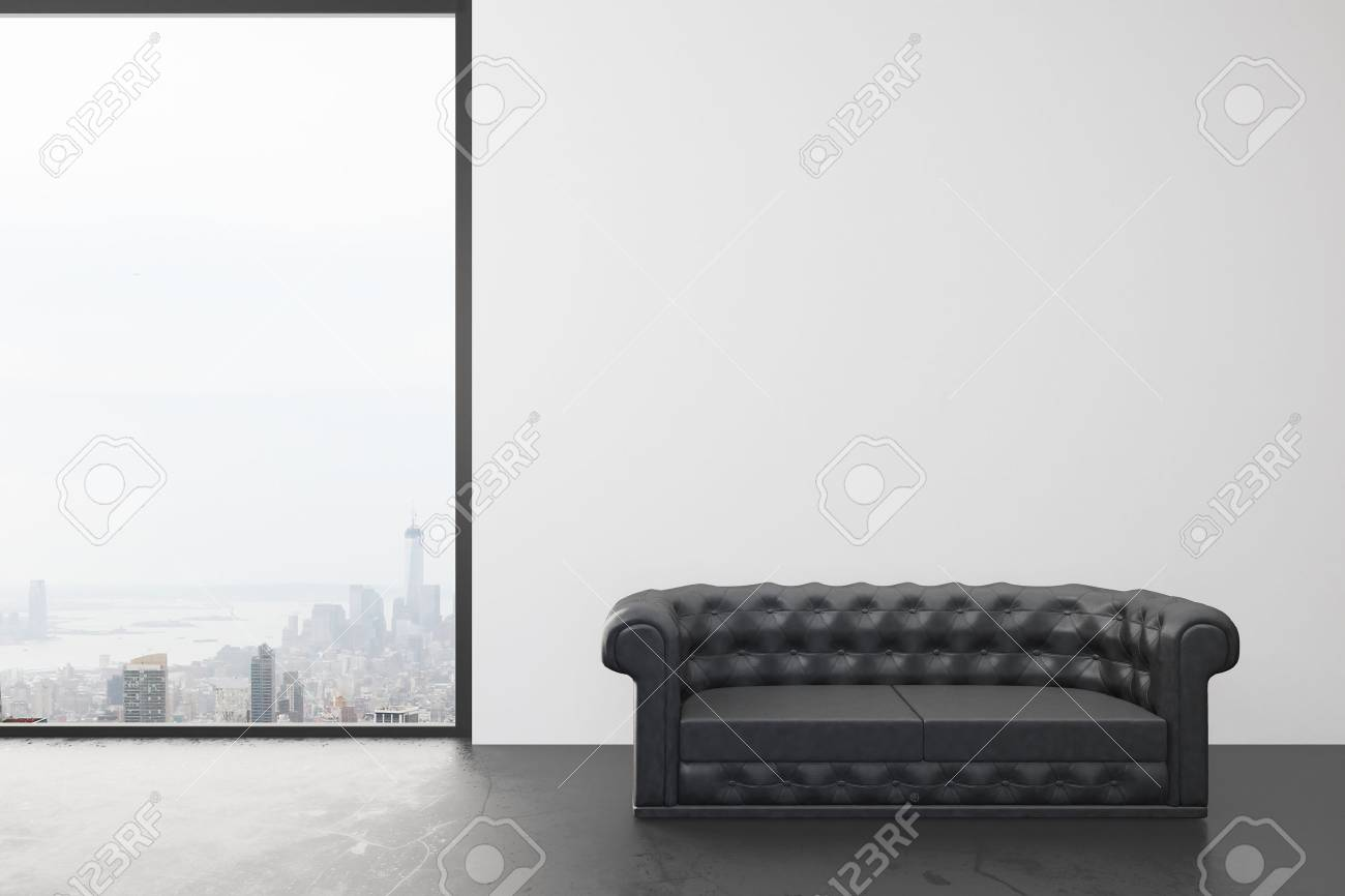 Empty room with white wall, big window with city view and black..