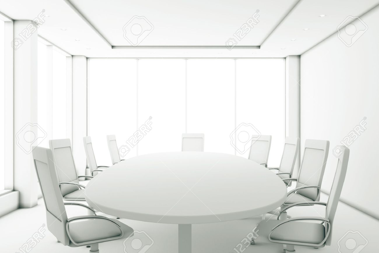 Completely White Meeting Room With A Round Table And Large Windows - Large white conference table