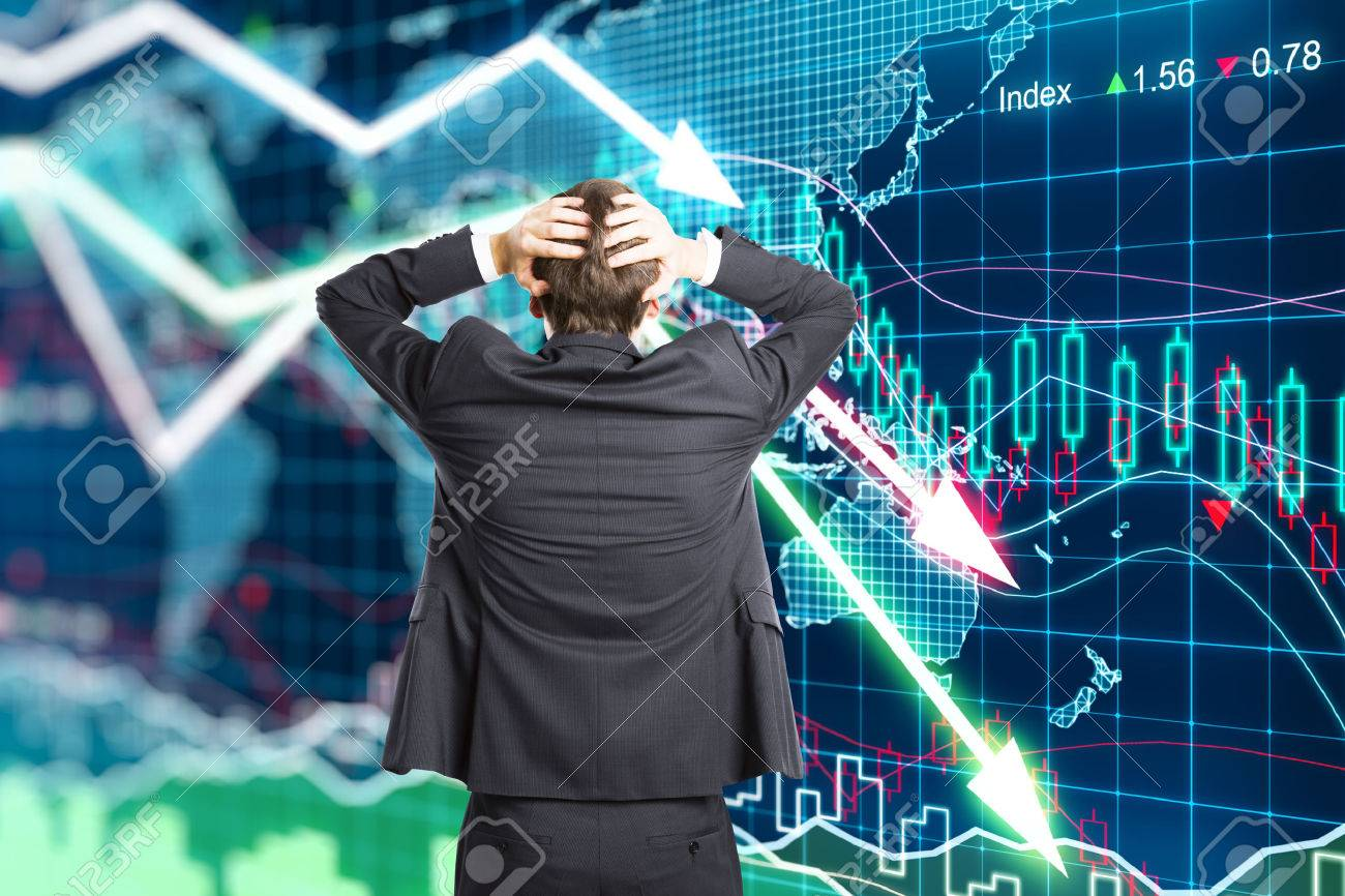 Illustration of the crisis concept with a businessman in panic - 51533298
