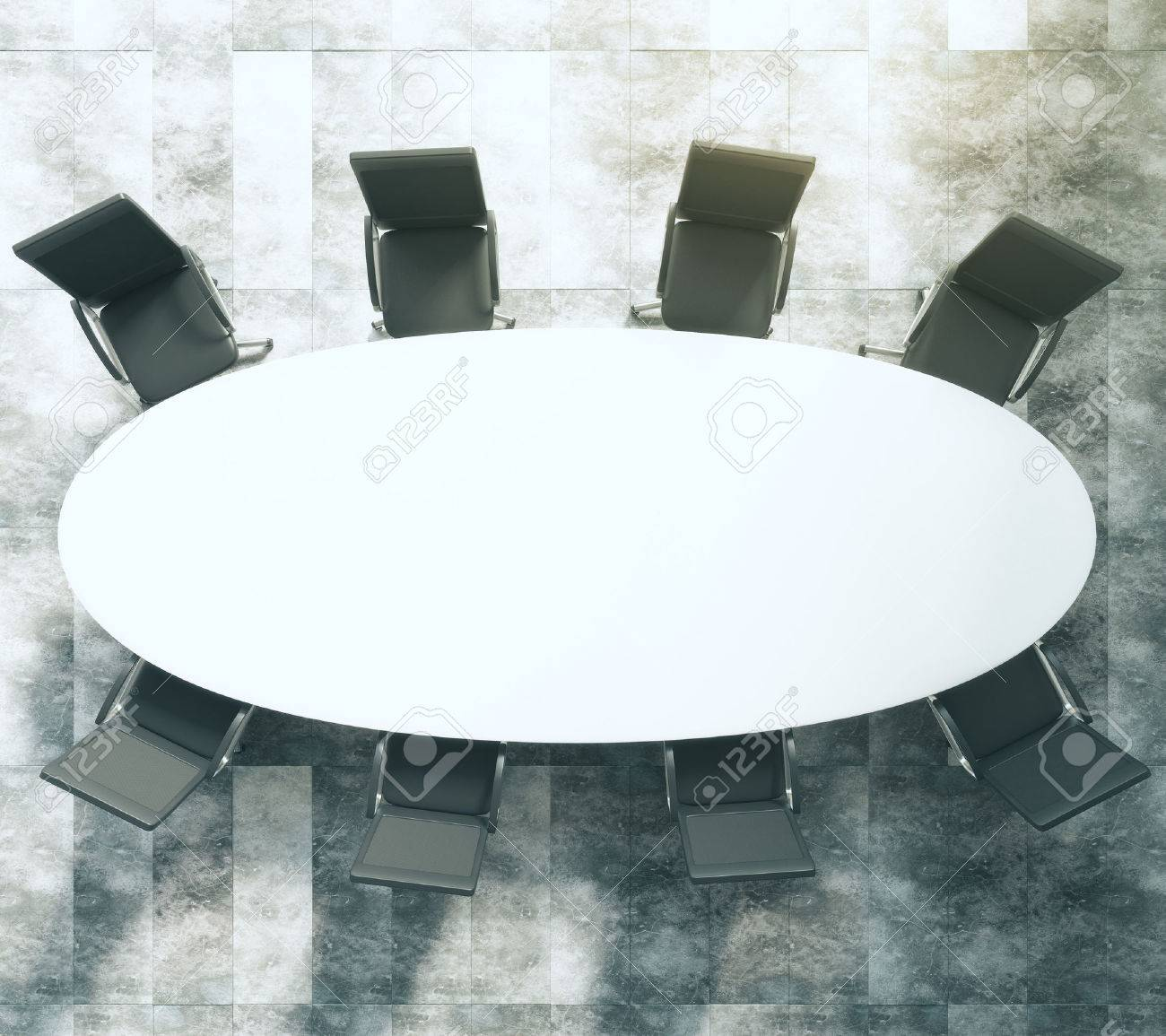 White Oval Conference Table With Black Leather Chairs On Concrete - White oval conference table