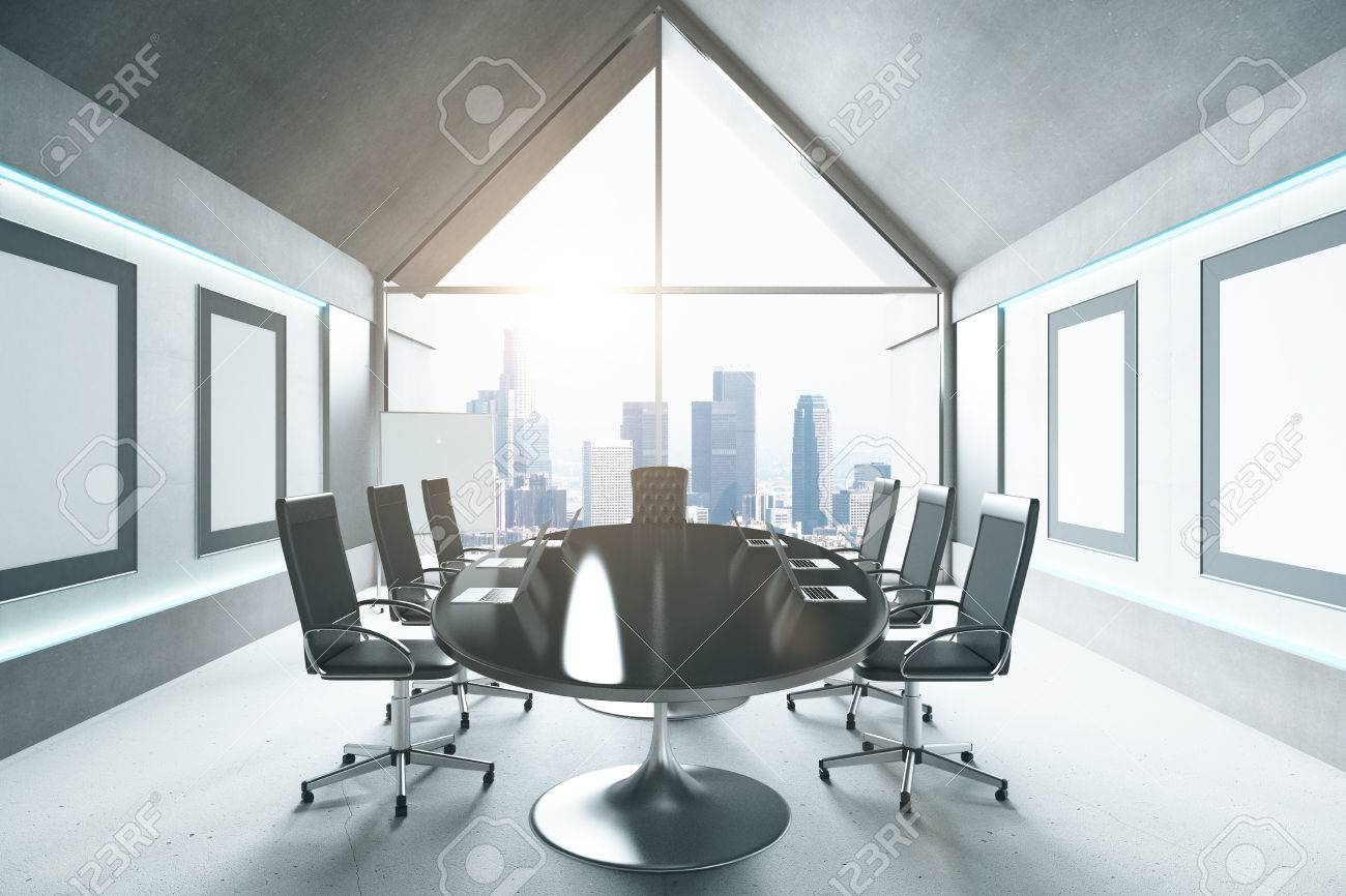 Strange Modern Conference Room With Black Table Chairs And City View Squirreltailoven Fun Painted Chair Ideas Images Squirreltailovenorg