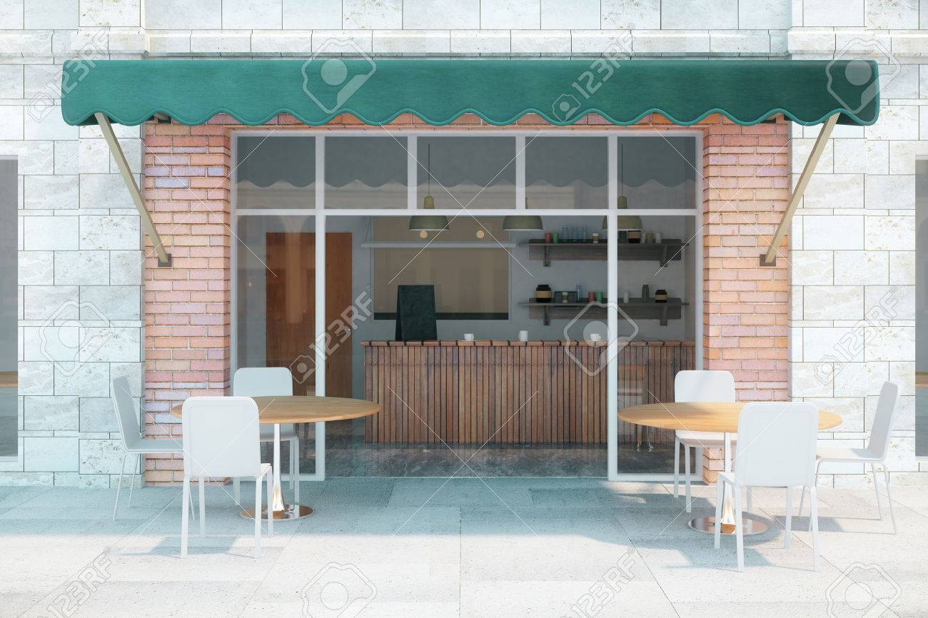 cafe with brick walls and green canopy exter design. 3d render