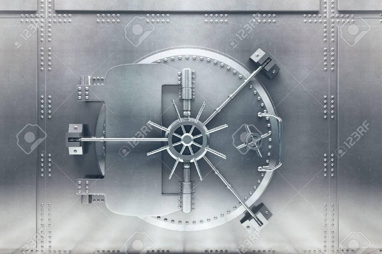 Front view of light silver bank vault door, closed. 3D Render - 53310006