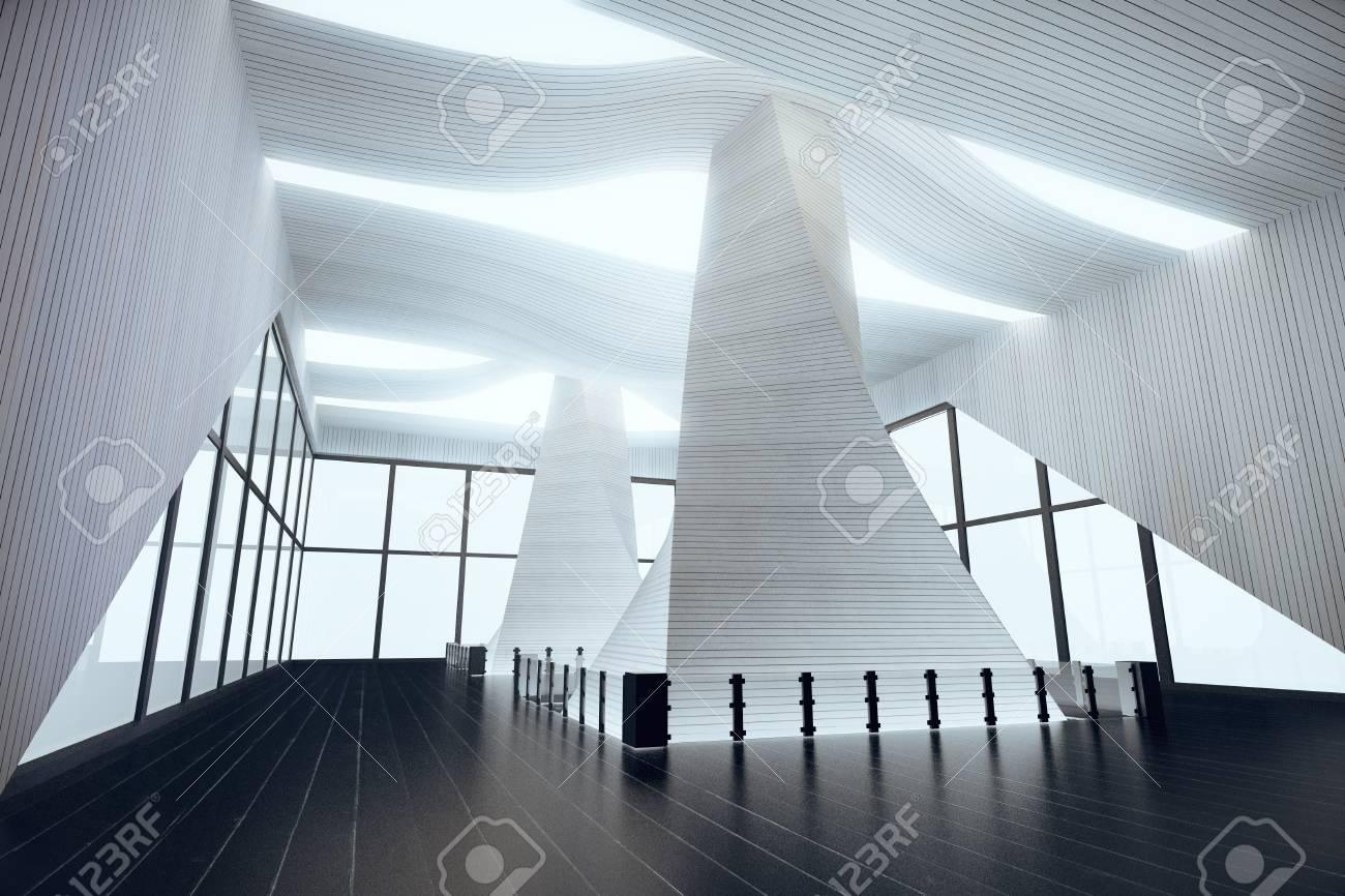 Futuristische Innenarchitektur In Leere Halle Mit Schwarzen ...