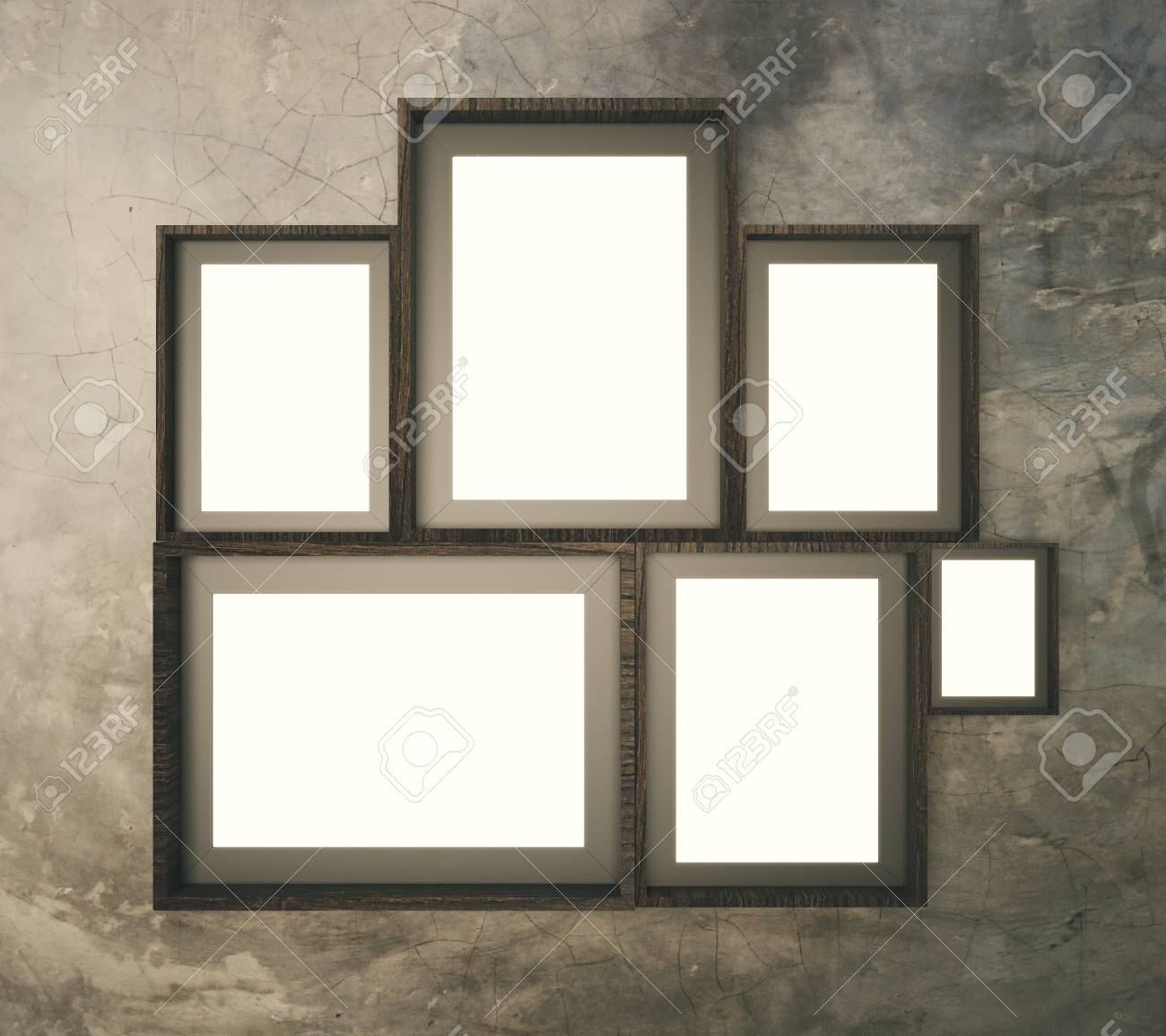 Brown Broad Pattern Wall With Multiple Blank Picture Frames,.. Stock ...