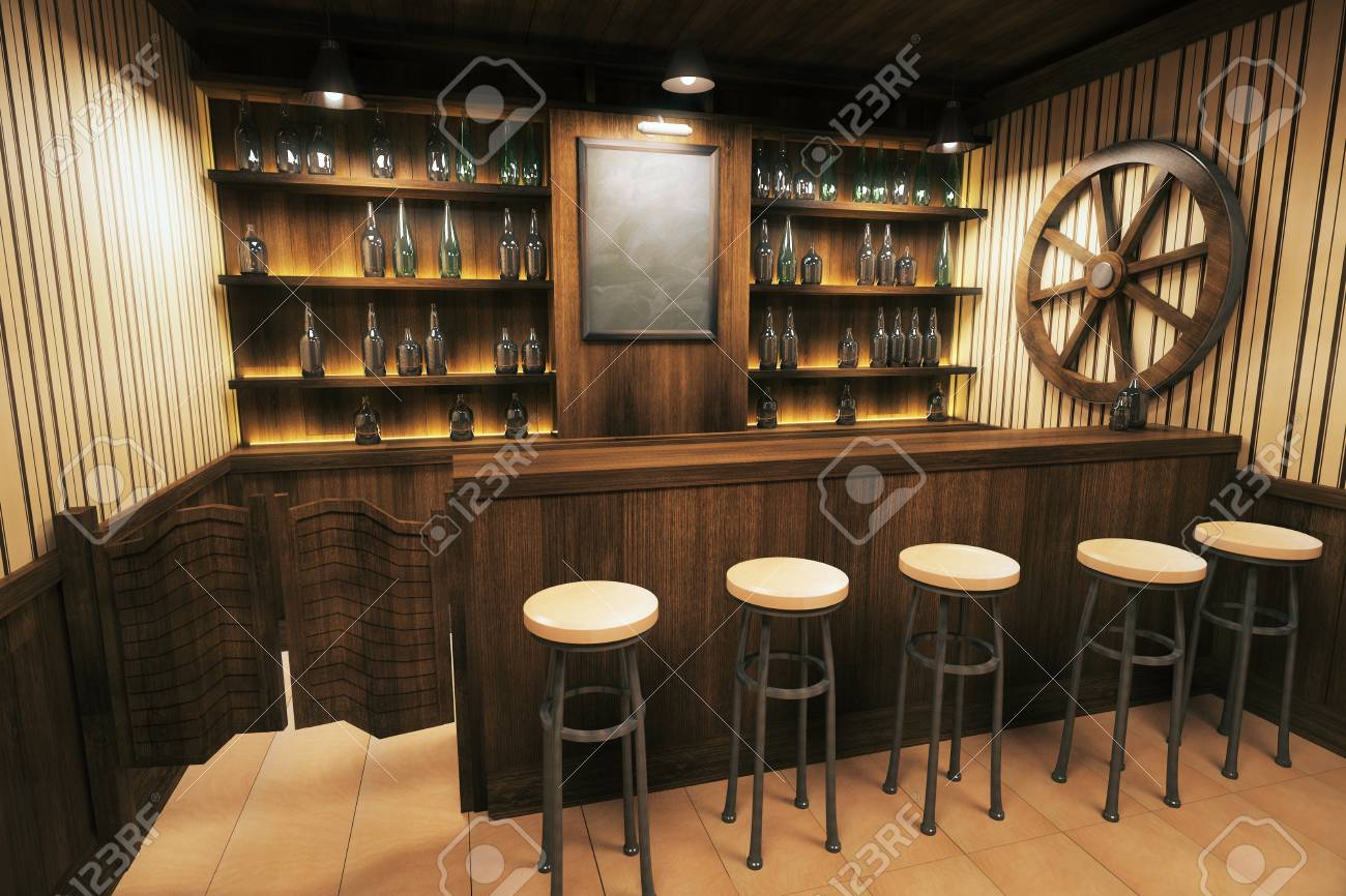 Side View Of A Wooden Pub Interior With Empty Blackboard. 3D.. Stock ...