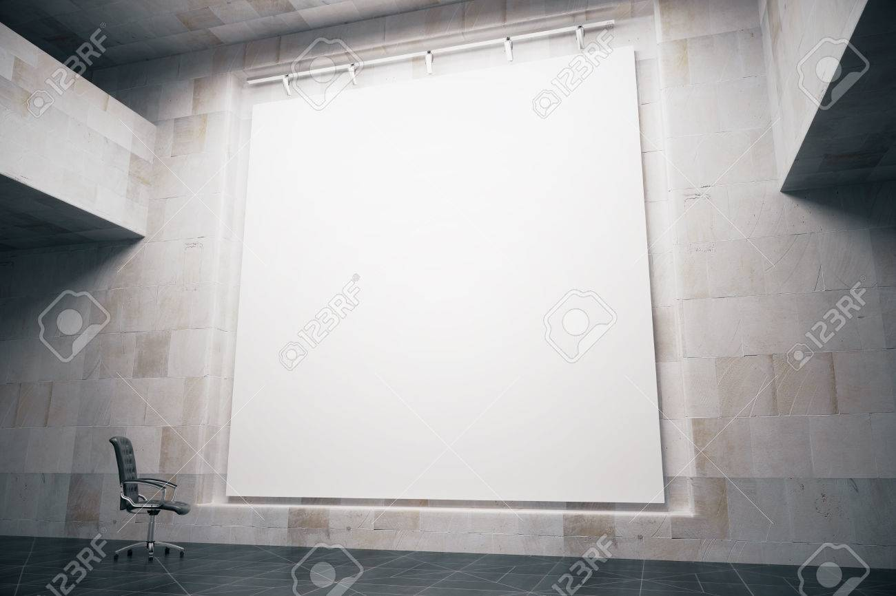 Side view of blank whiteboard in concrete interior with swivel-chair. Mock up, 3D Render - 54211244
