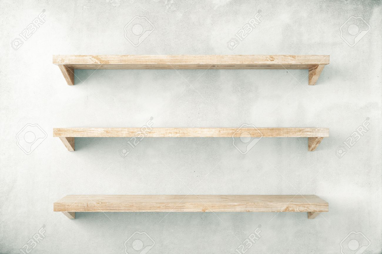 Plain wood table with hipster brick wall background stock photo - Plain Wall Empty Shelves On Concrete Wall Background Mock Up 3d Render