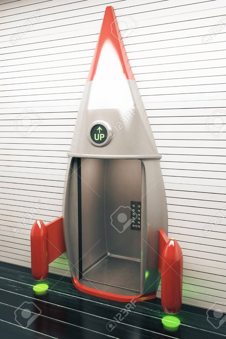 Success concept with open rocket elevator  Side view, 3D Render