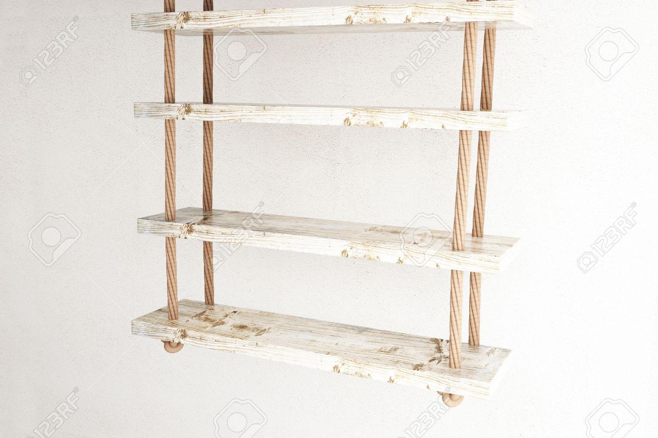 sideview des étagères suspendues sur blanc mur de béton. rendu 3d