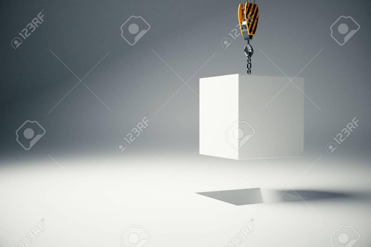 stock photo - white block suspended on crane hook on light background  3d  rendering