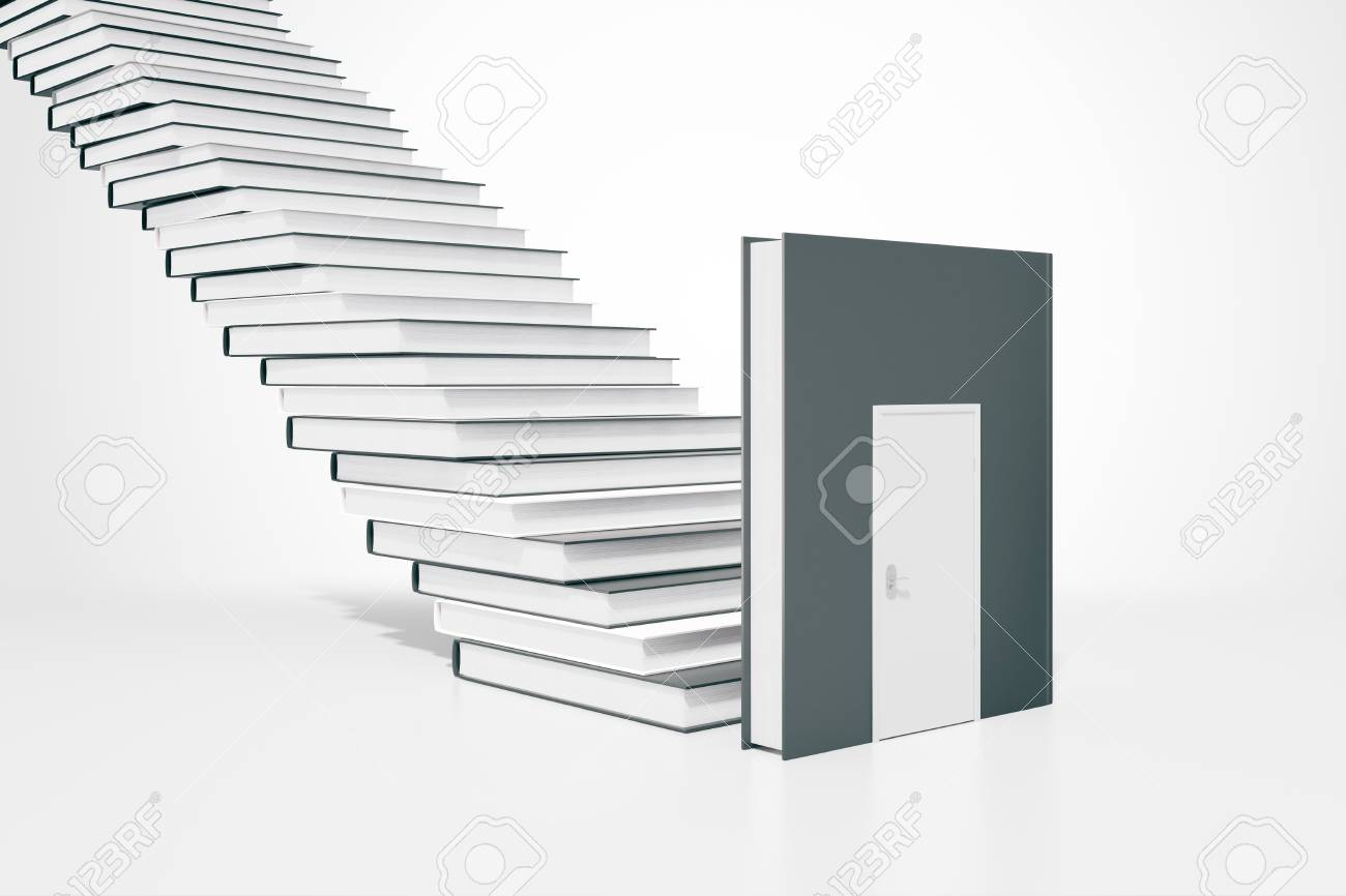 Education concept with book door and ladder. 3D Rendering Stock Photo - 55888752  sc 1 st  123RF.com & Education Concept With Book Door And Ladder. 3D Rendering Stock ...