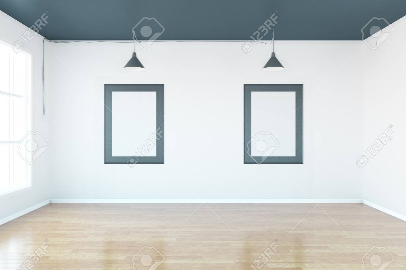 Interior With Two Blank Picture Frames On Concrete Wall, Wooden ...