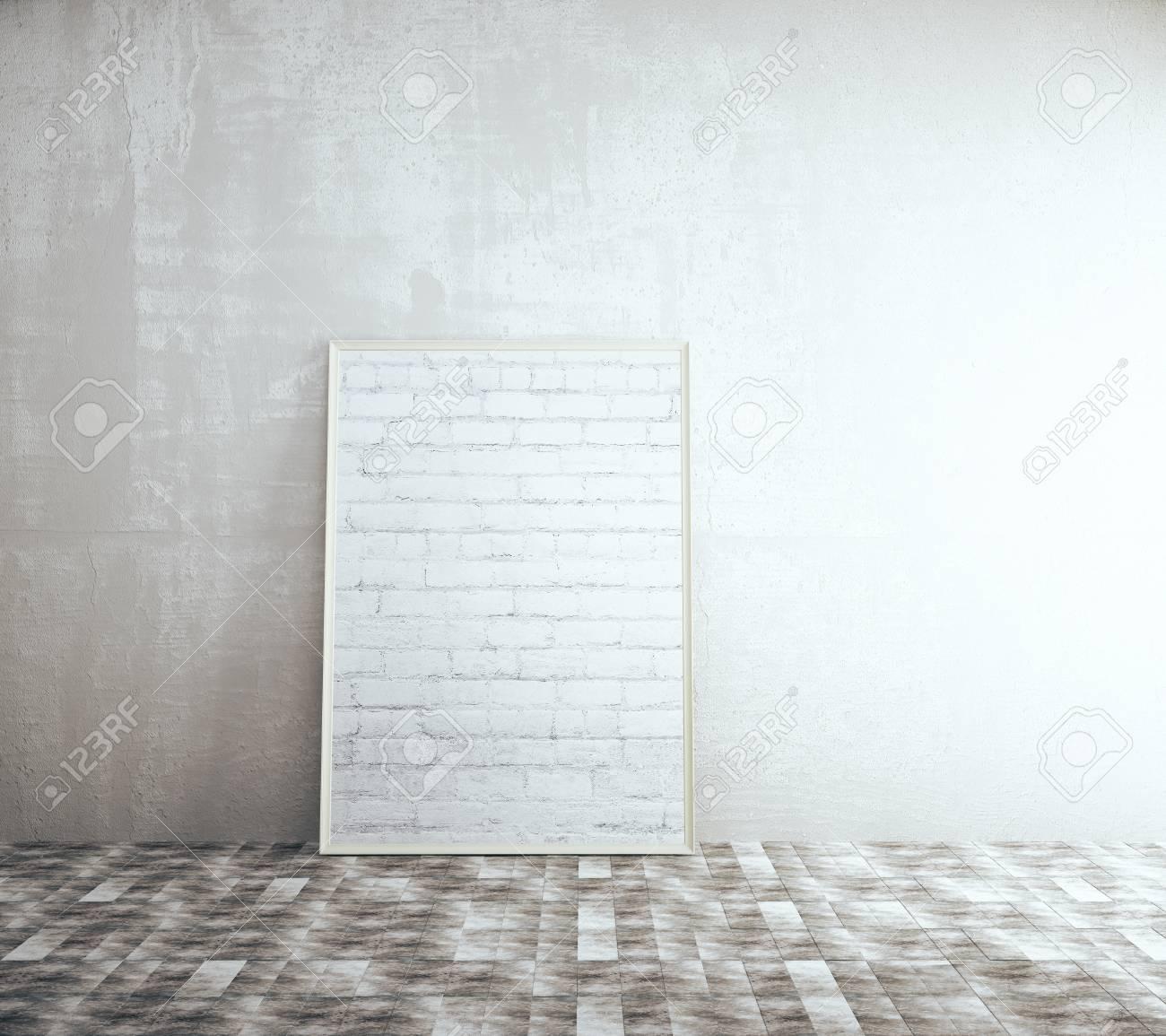 Marco En Blanco De Ladrillo En El Interior Con Muro De Hormigón Y ...