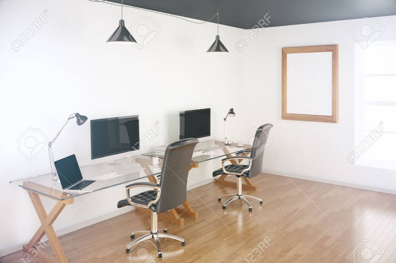 Two Designer Desktops In Office With Wooden Floor, Blank Picture ...