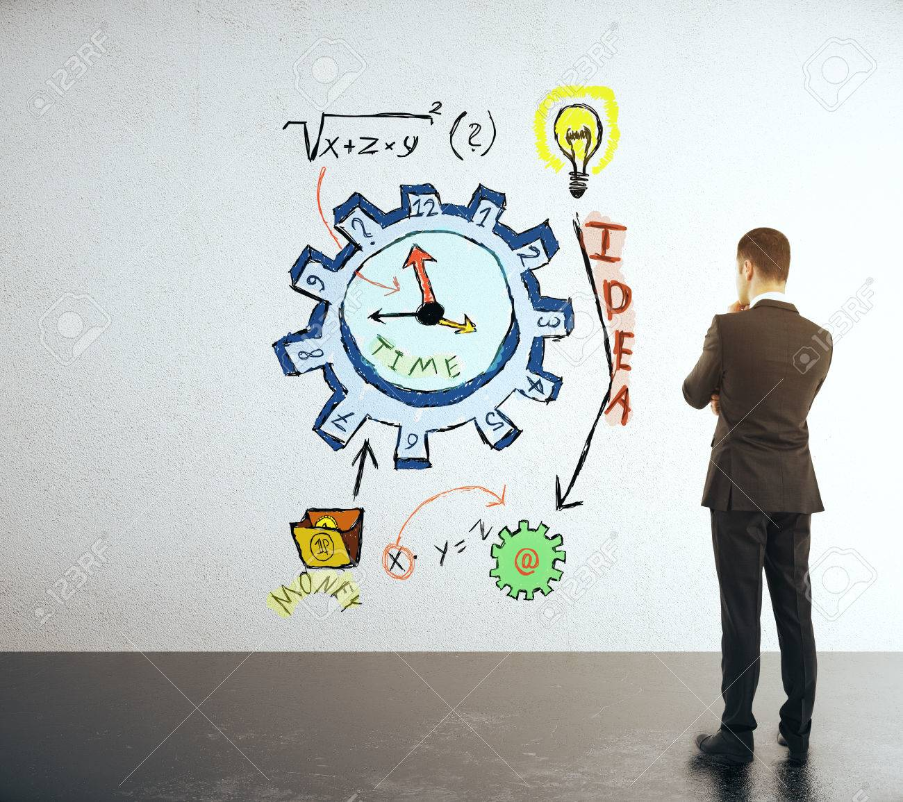 time management concept with businessman looking at clock gear