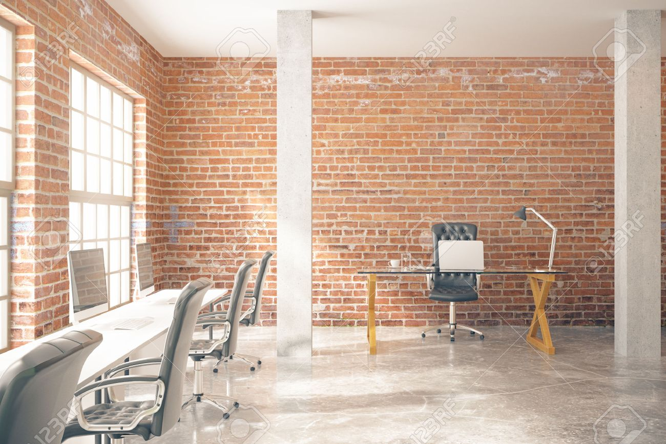 Amazing Coworking Office Interior With Computers, Concrete Floor, Red Brick Walls,  Columns And Windows