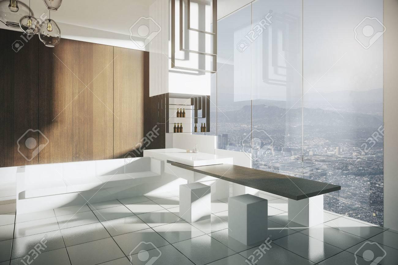 Interieur Moderne De Cuisine Luxueuse Avec Salon De Bar Salle A