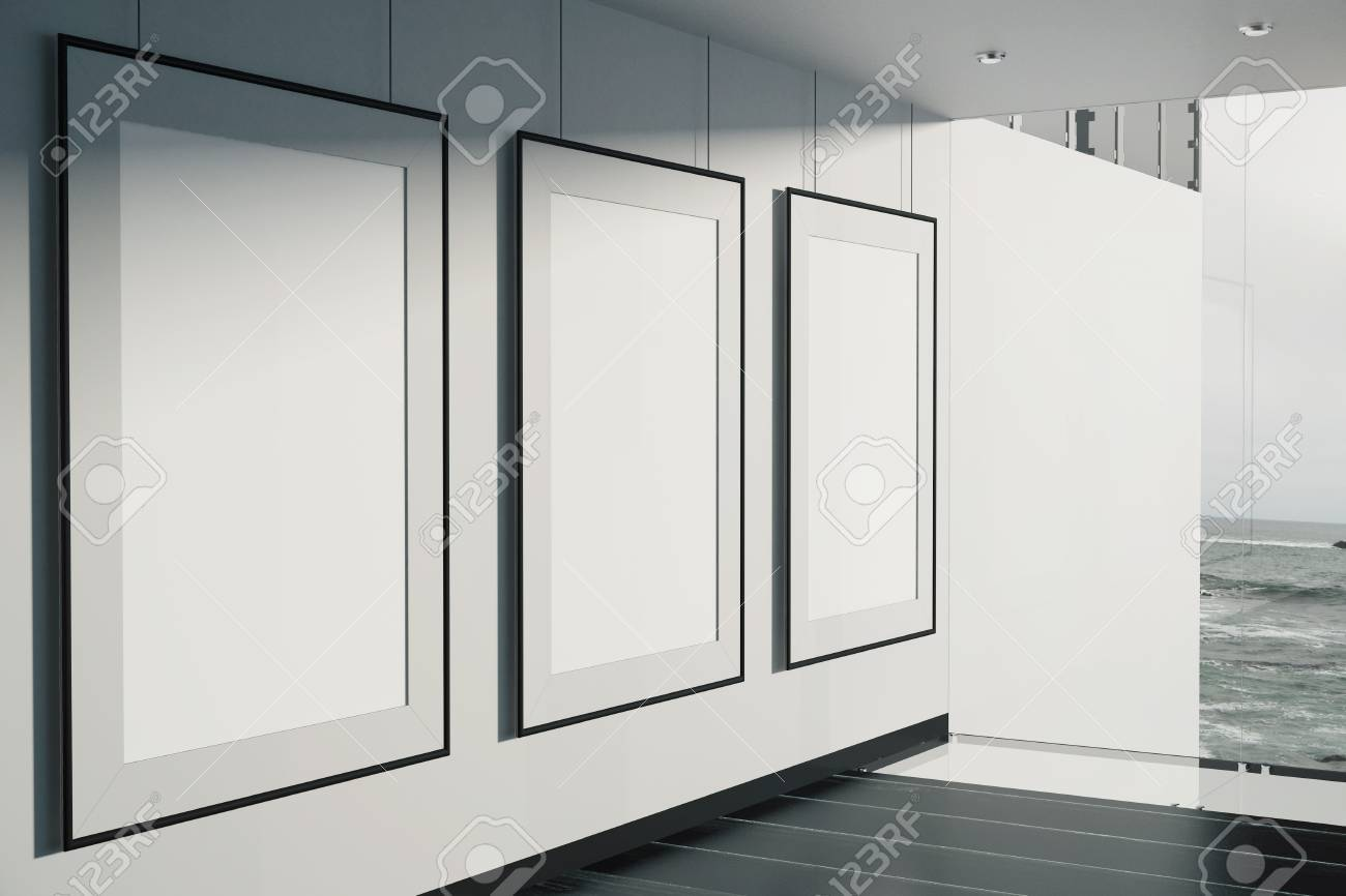 Blank Picture Frames In Room With Concrete Wall, Black Floor.. Stock ...