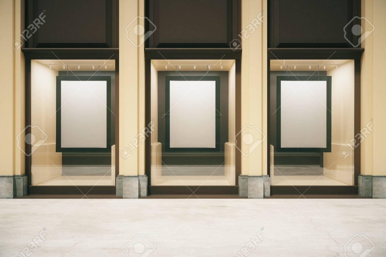 Kaufen Außen Mit Leeren Rahmen In Der Vitrine. Mock-up, 3D-Rendering ...
