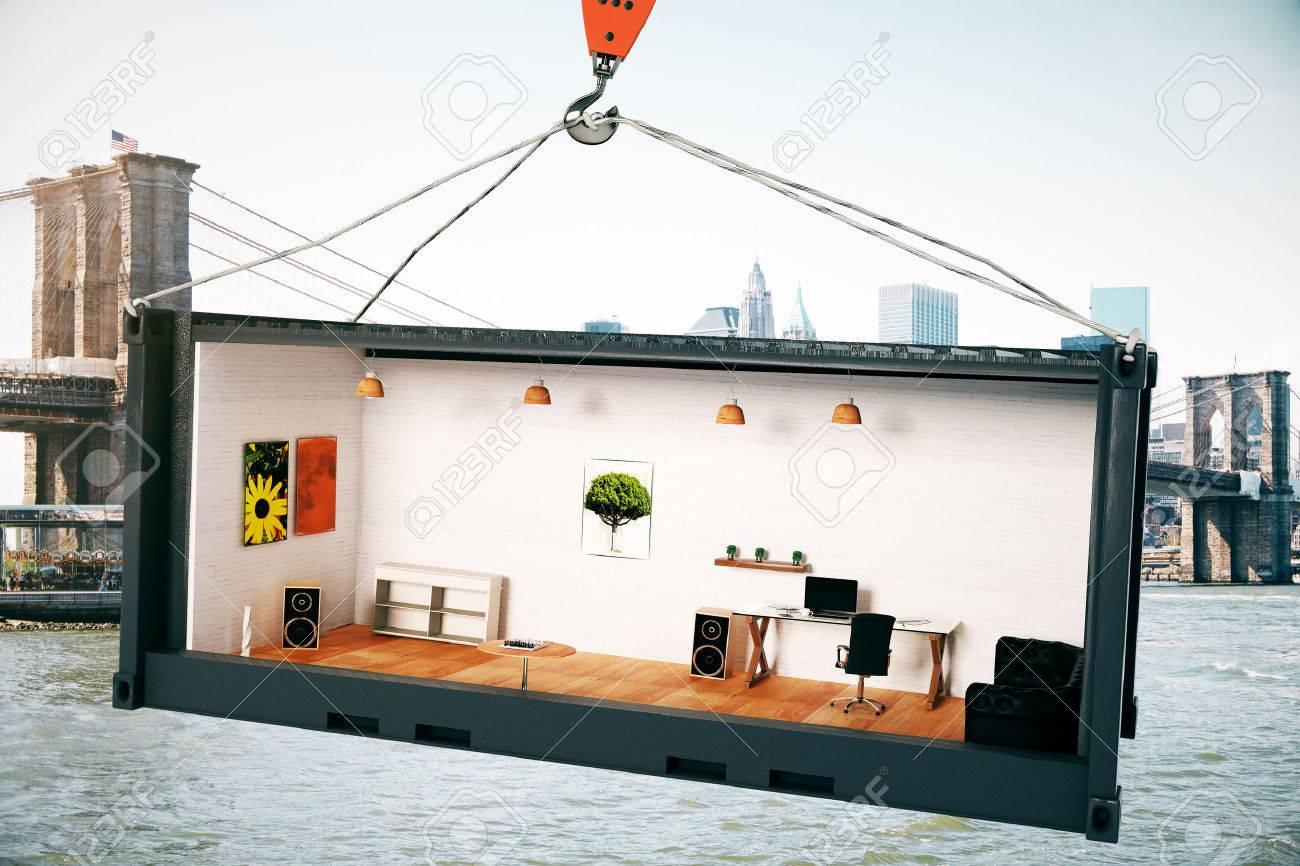 Abstrakt Buro Interieur Innen Schwarz Crago Container Auf Kranhaken