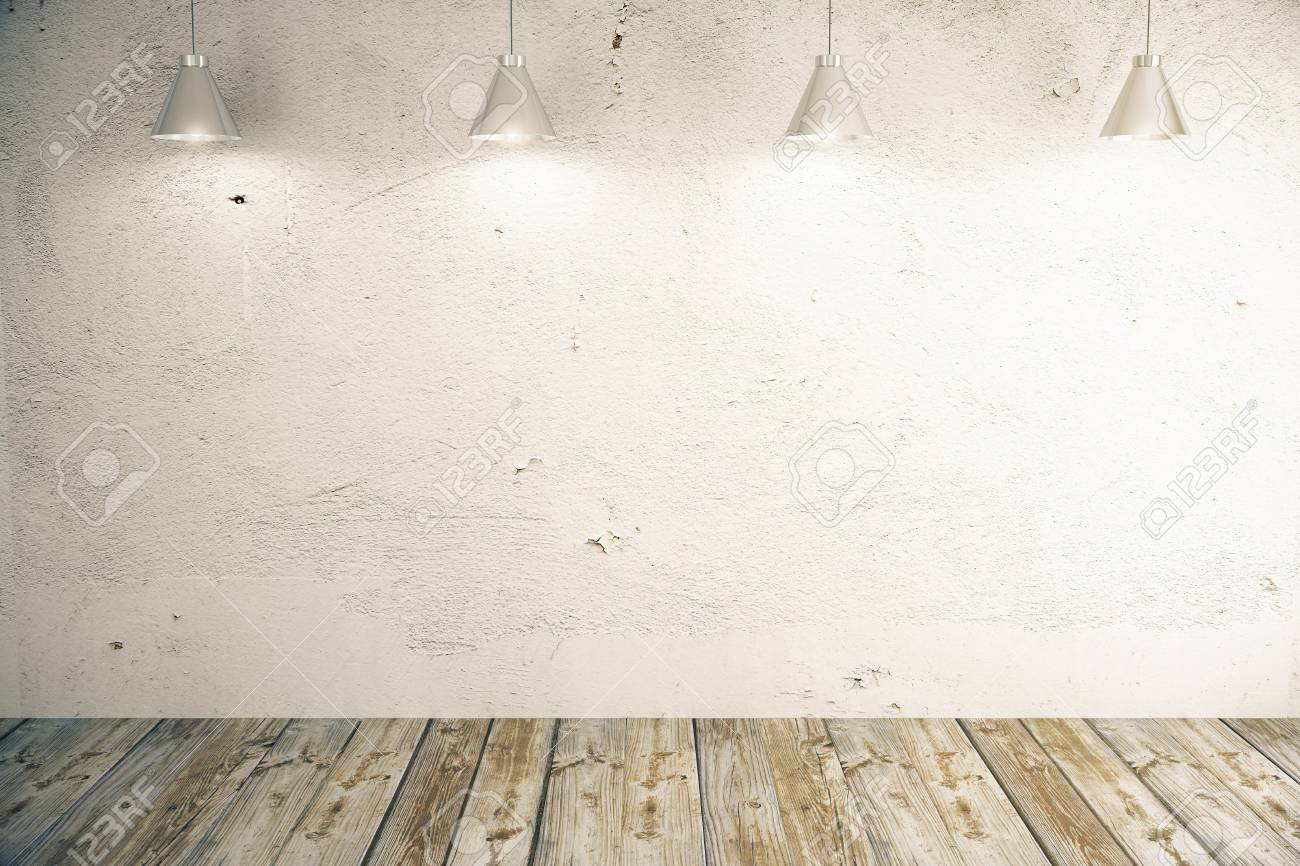 Blank light concrete wall in room with wooden floor and ceiling blank light concrete wall in room with wooden floor and ceiling lamps mock up mozeypictures Image collections