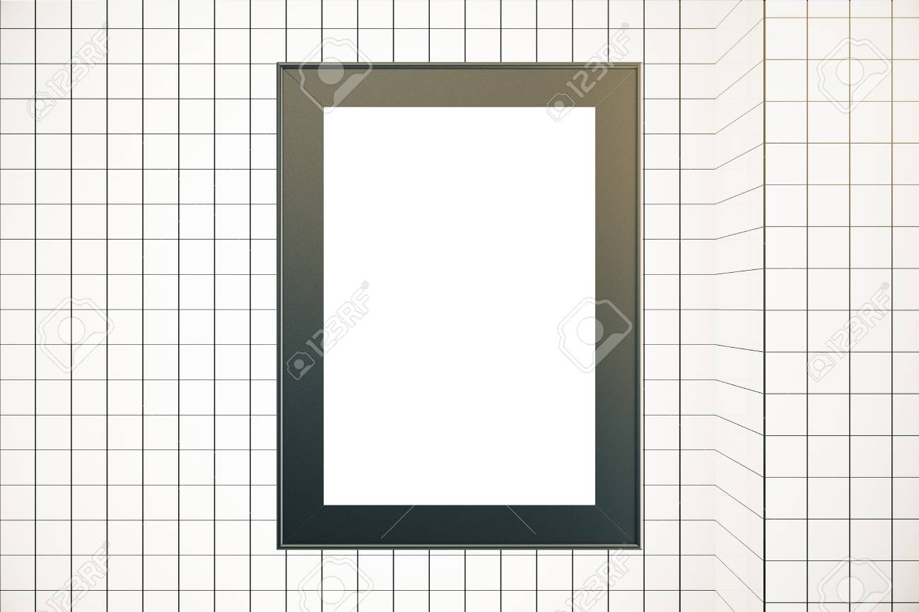 Blank Picture Frame On Grid Background. Mock Up, 3D Rendering Stock ...