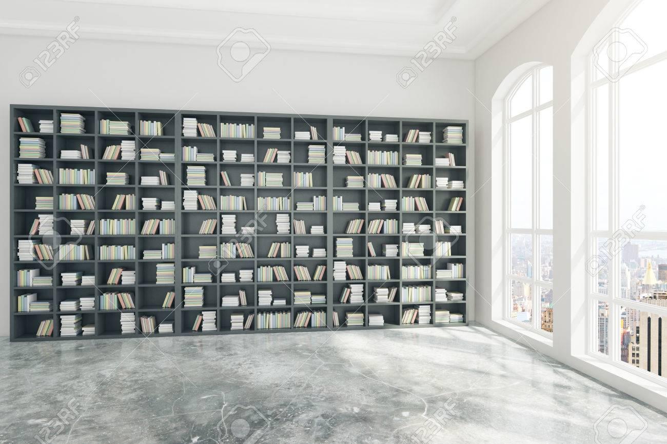 Beton In Interieur : Bücherregal in beton bibliothek interieur mit fenstern und blick