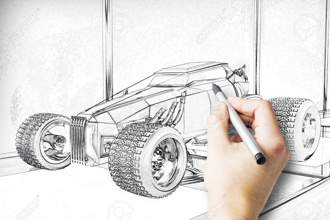 Hand Drawing Hot Rod Car Blueprint With Pen Stock Photo, Picture ...
