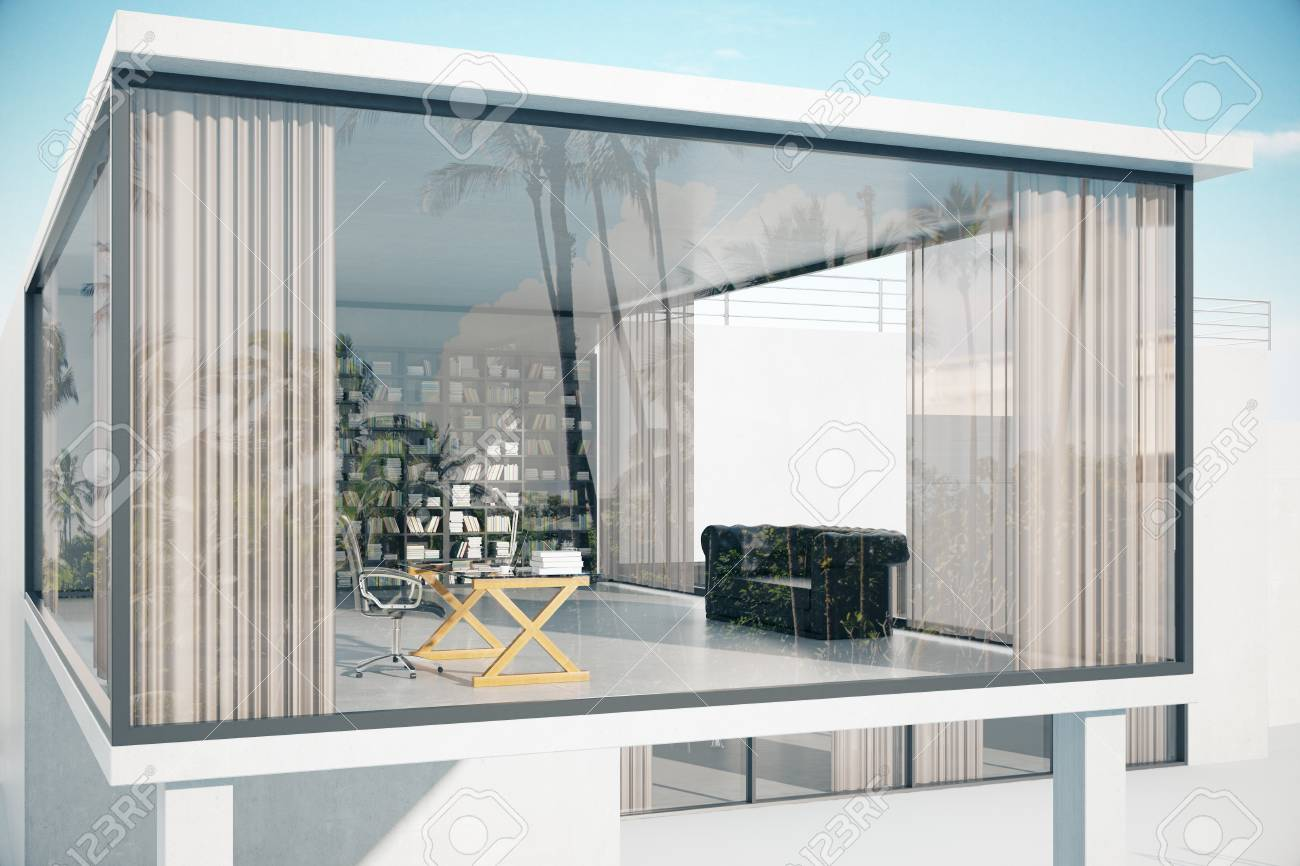 See Through House Exterior With Panoramic Windows Workplace