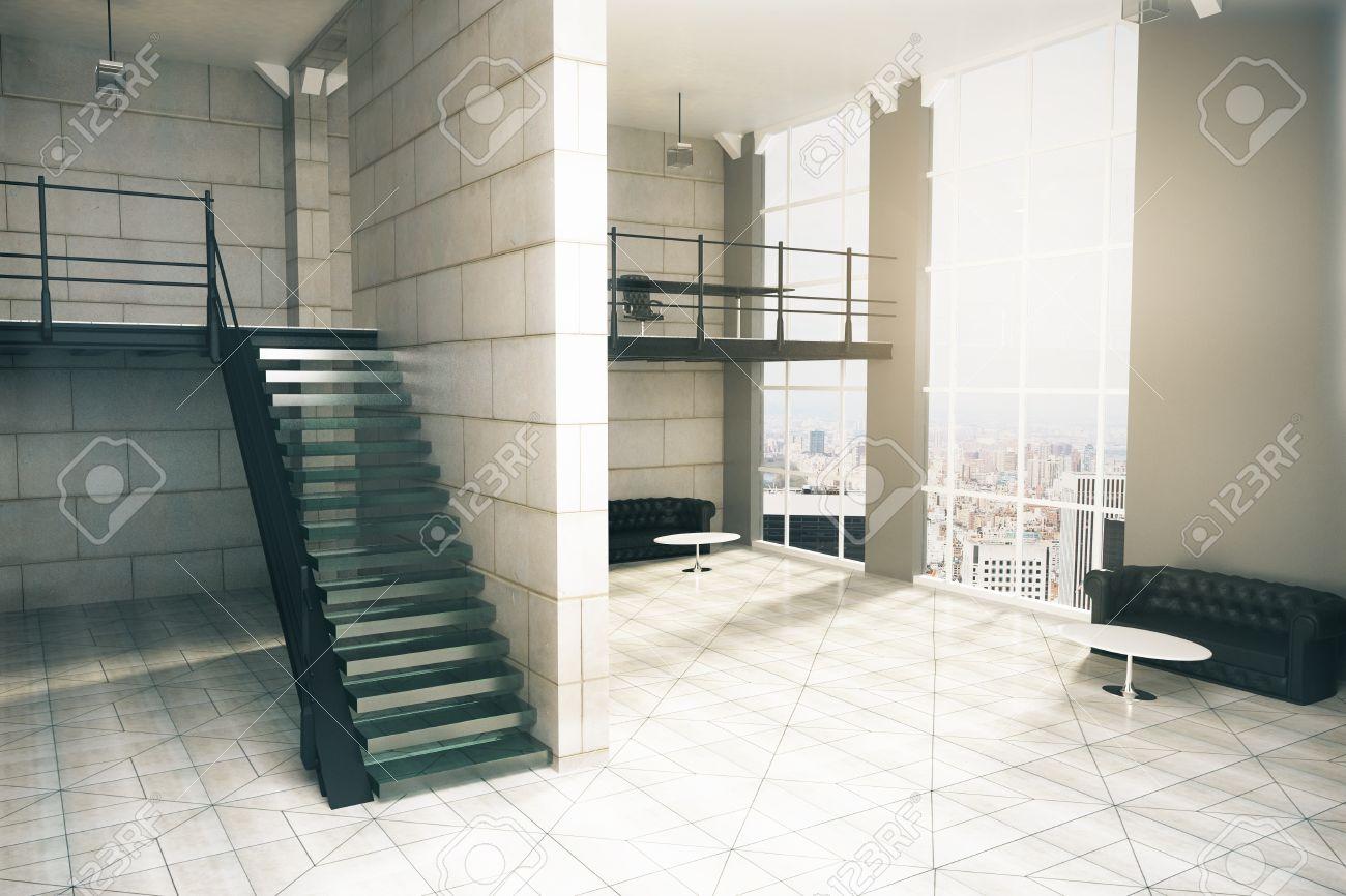 foto de archivo diseo de interiores con escaleras suelos de baldosas de hormign y paredes varios sofs mesas de caf y ventana con vista a la ciudad