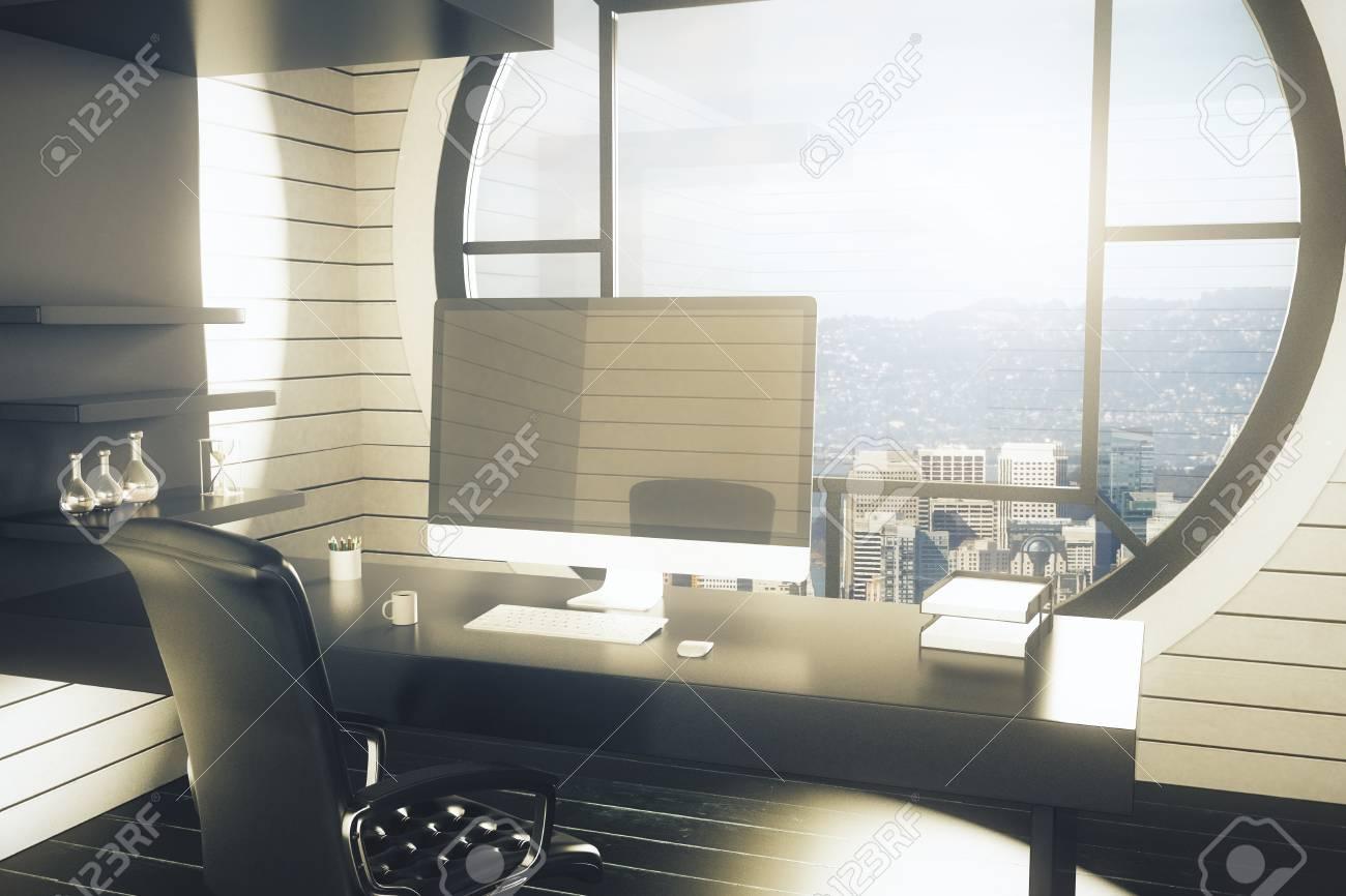 Lieu De Travail De Bureau Avec Chaise Sombre Bureau Avec Ordinateur Vierge Moniteur Des Etageres Avec Des Objets De Decoration Et Fenetre Ronde