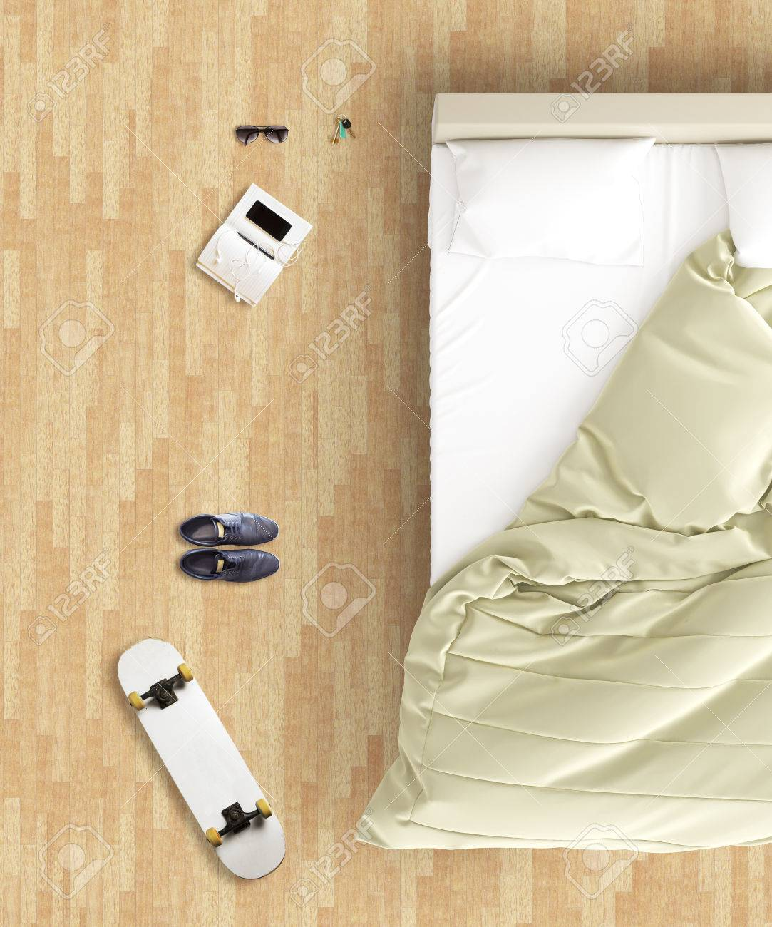 Skateboard Bedroom Top View Of Hipster Bedroom With Unmade Bed Skateboard Pair